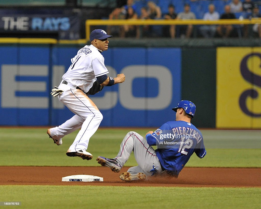 Shortstop <a gi-track='captionPersonalityLinkClicked' href=/galleries/search?phrase=Yunel+Escobar&family=editorial&specificpeople=757358 ng-click='$event.stopPropagation()'>Yunel Escobar</a> #11 of the Tampa Bay Rays forces catcher A. J. Pierynski #12 of the Texas Rangers at 2nd base September 18, 2013 at Tropicana Field in St. Petersburg, Florida.