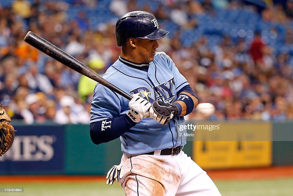 Shortstop <a gi-track='captionPersonalityLinkClicked' href=/galleries/search?phrase=Yunel+Escobar&family=editorial&specificpeople=757358 ng-click='$event.stopPropagation()'>Yunel Escobar</a> #11 of the Tampa Bay Rays takes an inside pitch against the Houston Astros during the game at Tropicana Field on July 14, 2013 in St. Petersburg, Florida.