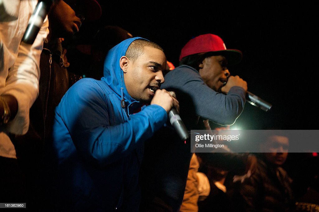 Shorty and JME performs on stage at 'The Eskimo Dance' at 02 Academy on February 9, 2013 in Leicester, England.