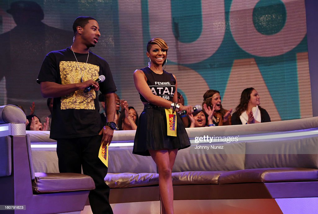 Shorty Da Prince and Ms. Mykie host BET's '106 & Park' at BET Studios on February 5, 2013 in New York City.