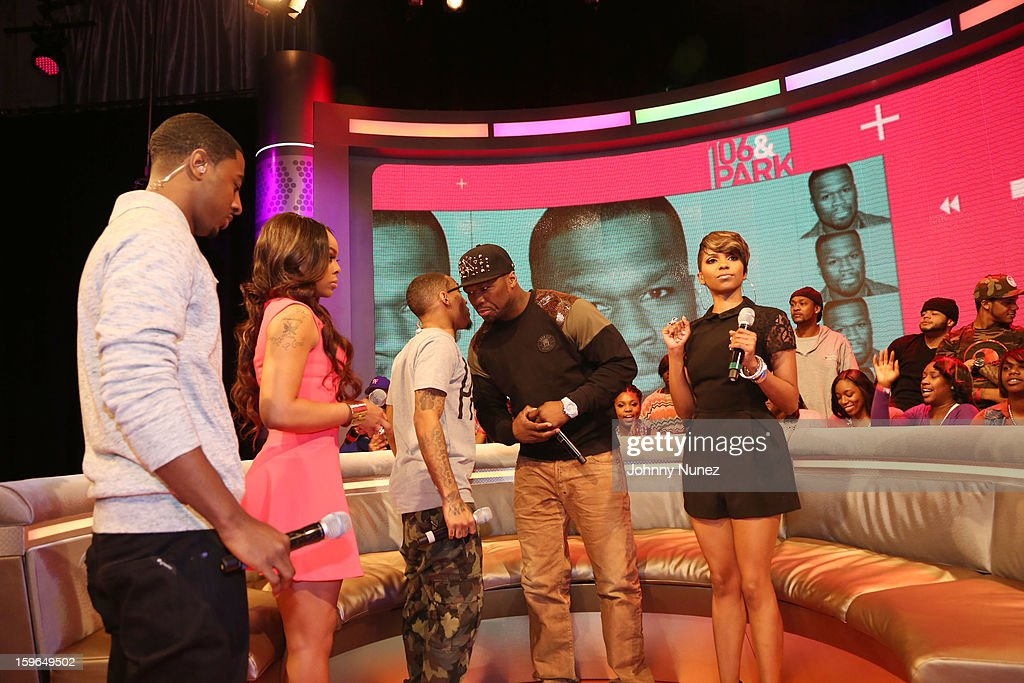 Shorty Da Prince, Kimberly 'Paigion' Walker, Bow Wow, 50 Cent and Miss Mykie visit BET's '106 & Park' at BET Studios on January 17, 2013 in New York City.