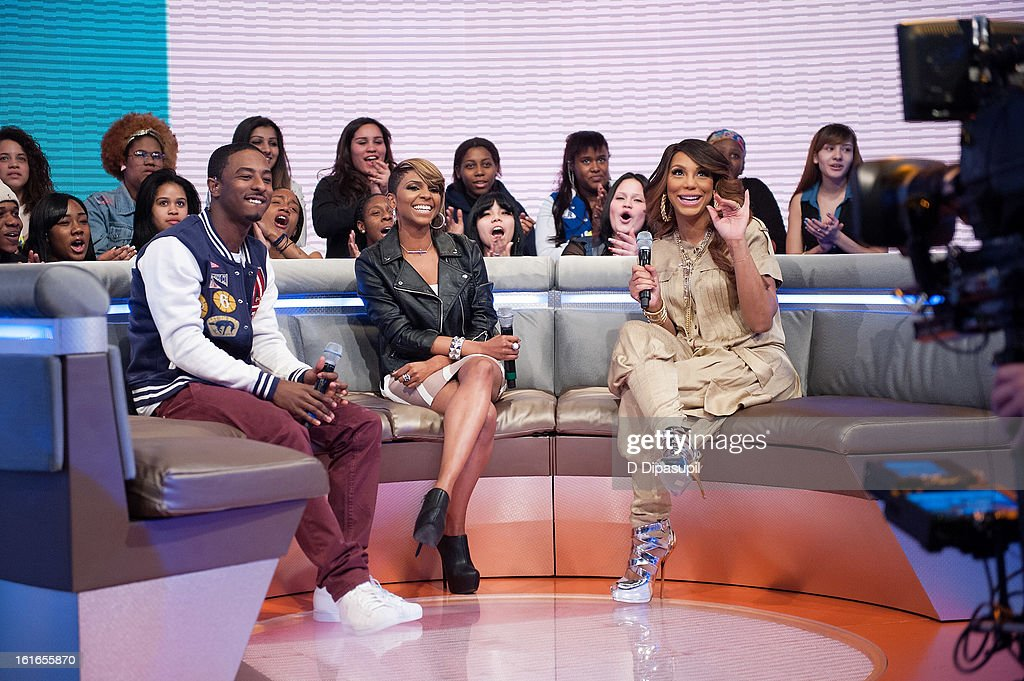 Shorty Da Prince, Miss Mykie, and Tamar Braxton visit BET's '106 & Park' at BET Studios on February 13, 2013 in New York City.
