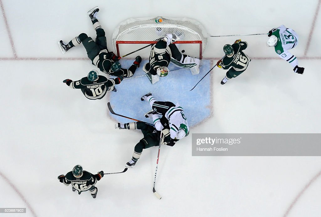 A shot by Alex Goligoski #33 of the Dallas Stars gets past Devan Dubnyk #40 of the Minnesota Wild to score a goal during the third period of Game Six of the Western Conference First Round during the 2016 NHL Stanley Cup Playoffs on April 24, 2016 at Xcel Energy Center in St Paul, Minnesota. The Stars defeated the Wild 5-4.