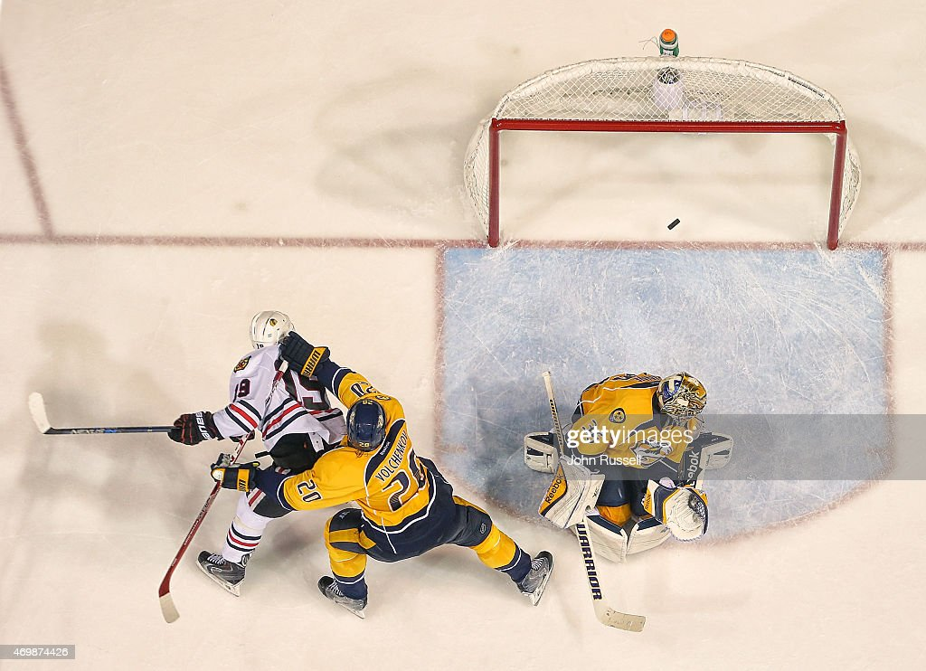 A shot by Duncan Keith #2 of the Chicago Blackhawks (not pictured) finds the net for the game winner against Pekka Rinne #35 of the Nashville Predators in the second overtime of Game One of the Western Conference Quarterfinals during the 2015 NHL Stanley Cup Playoffs at Bridgestone Arena on April 15, 2015 in Nashville, Tennessee.