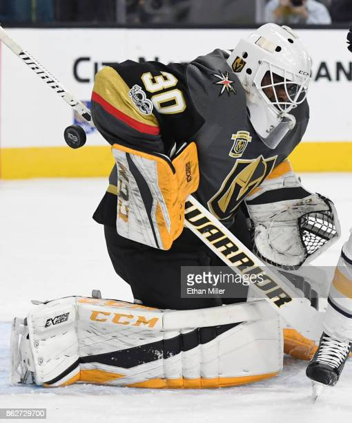 A shot by Ryan O'Reilly of the Buffalo Sabres gets past Malcolm Subban of the Vegas Golden Knights for a goal in the first period of their game at...