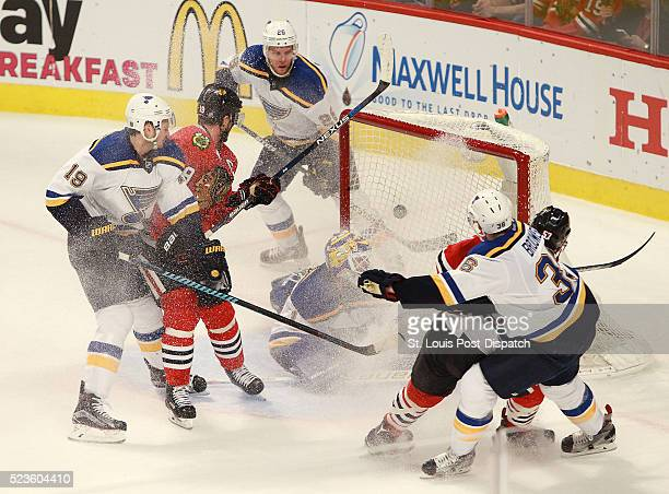 A shot by the Chicago Blackhawks' Trevor van Riemsdyk not pictured gets past St Louis Blues goaltender Brian Elliott for a secondperiod goal during...
