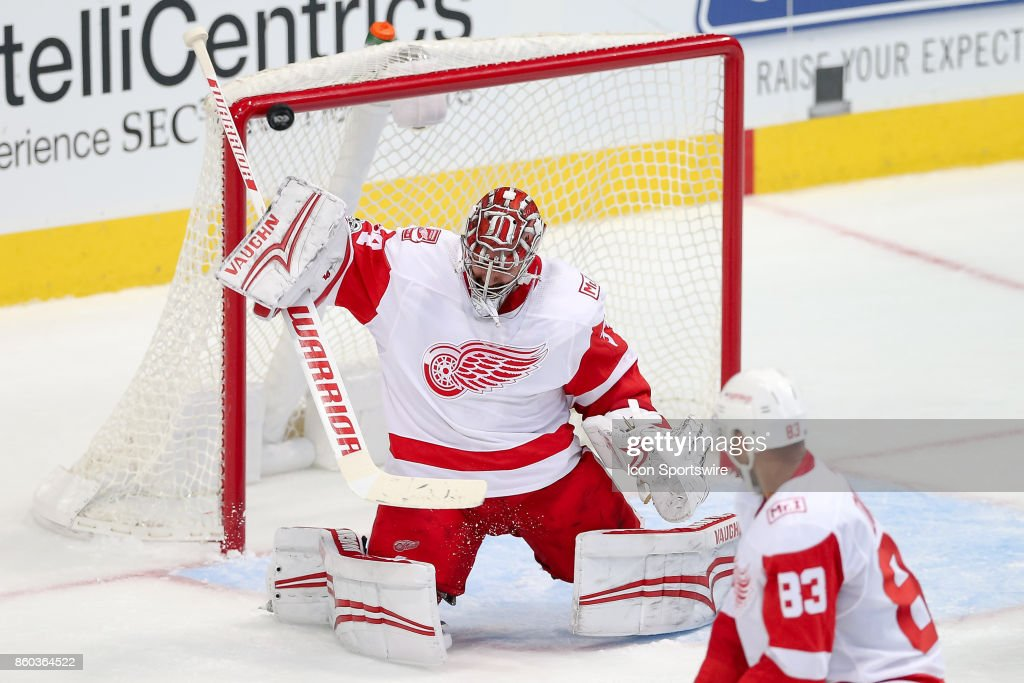 A shot gets past Detroit Red Wings Goalie Petr Mrazek (34) during the NHL game between the Detroit Red Wings and Dallas Stars on October 10, 2017 at the American Airlines Center in Dallas, TX.