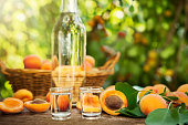 Shot glass with apricot brandy on table with delicious apricots