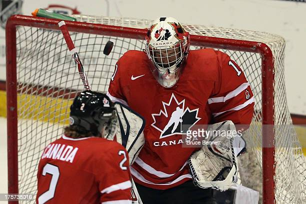 A shot goes over Eric Comrie of Team Canada during the game against Team Finland during the 2013 USA Hockey Junior Evaluation Camp at the Lake Placid...
