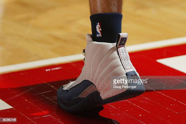 A shot of a Nike/Jordan shoe during the game against the Georgia Tech Yellow Jackets and the Maryland Terrapins on February 19 2004 at the Comcast...