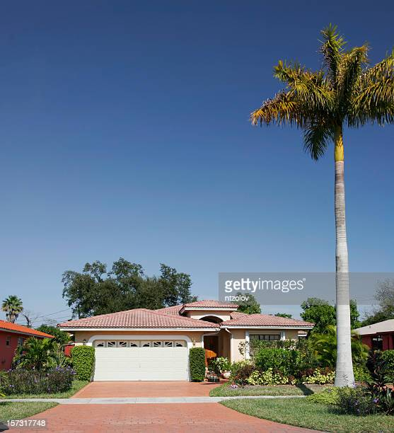 Shot of a plain family house with tree in front