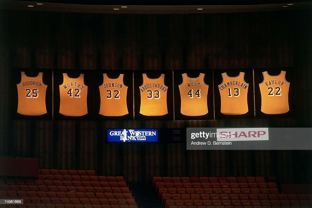 A shot of all the retired jerseys in the Los Angeles Lakers history that hang from the rafters at the Great Western Forum prior to a Lakers game on...