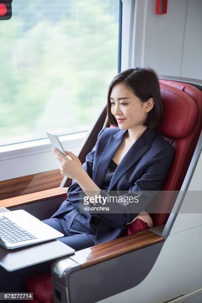 shot of beautiful business woman sitting inside high-speed train,Shanghai,China.
