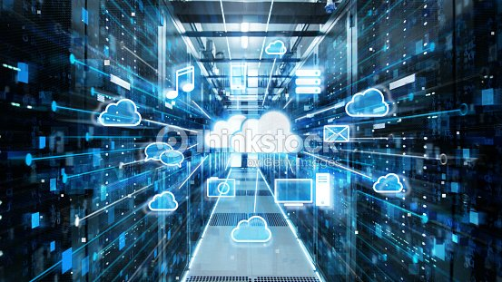 Shot of Corridor in Working Data Center Full of Rack Servers and Supercomputers with Cloud Storage Advantages Icon Visualization. : Stock Photo