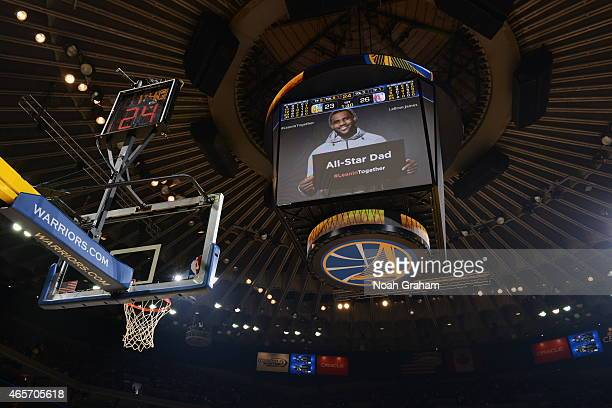 A shot of LeBron James of the Cleveland Cavaliers on the jumbotron during a game between the Los Angeles Clippers and Golden State Warriorson March 8...