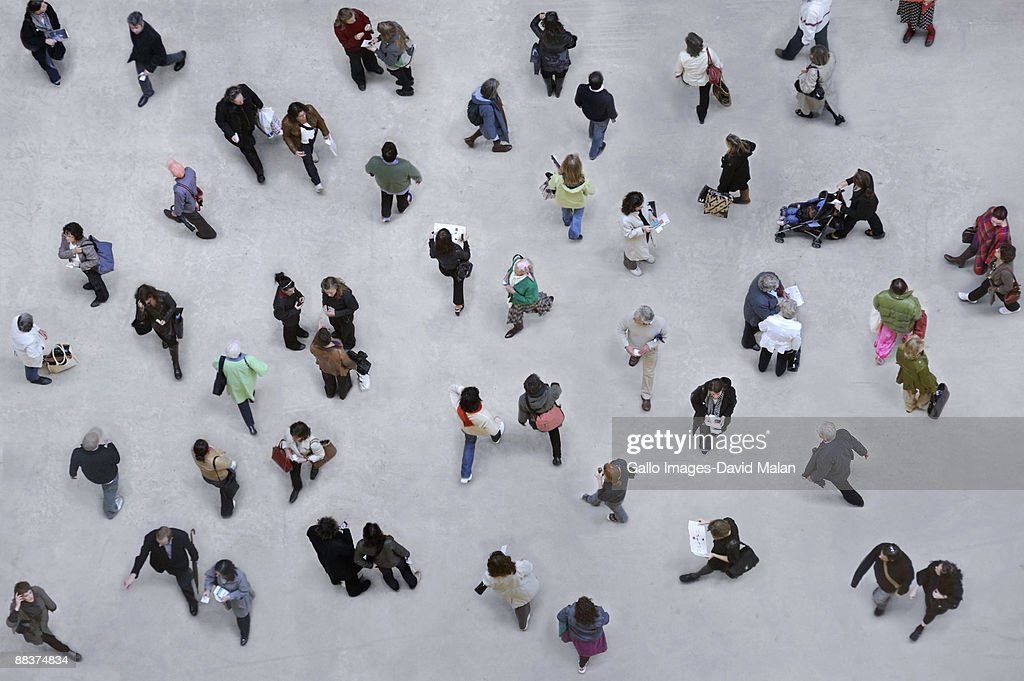 Shot of many pedestrians from above. : Stock Photo