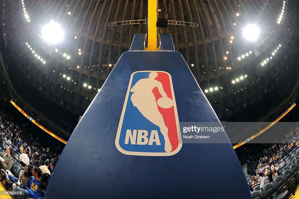 A shot of nba logo on the basket during the game between the Los Angeles Clippers and Golden State Warriors on October 21 2014 at Oracle Arena in...