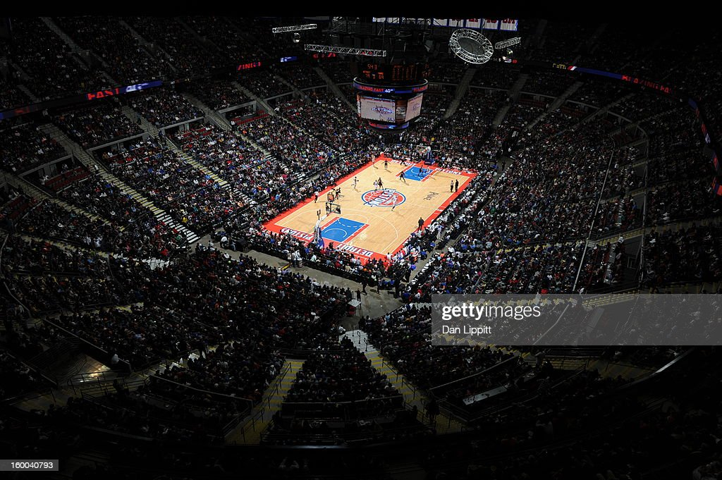 A shot of Place of Auburn Hills Arena during the game when the Detroit Pistons took on the Miami Heat on December 28, 2012 at The Palace of Auburn Hills in Auburn Hills, Michigan.