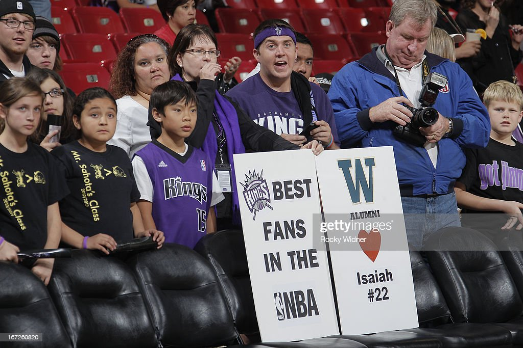 A shot of Sacramento Kings fans prior to the game against the Los Angeles Clippers on April 17, 2013 at Sleep Train Arena in Sacramento, California.