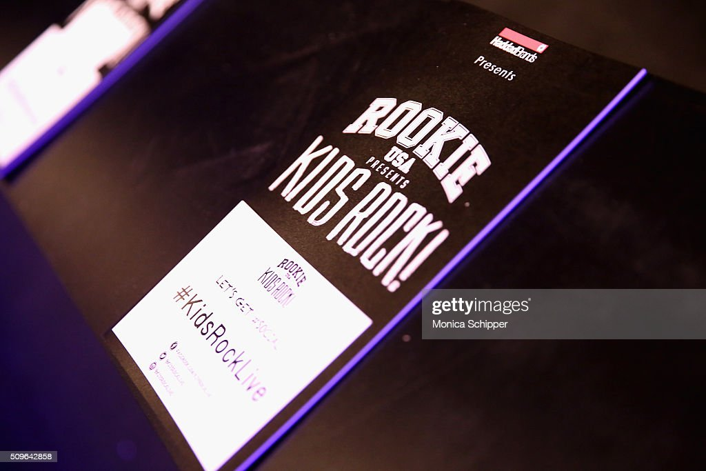 A shot of signage backstage at the Rookie USA Presents Kids Rock! Fall 2016 fashion show during New York Fashion Week: The Shows at The Dock, Skylight at Moynihan Station on February 11, 2016 in New York City.
