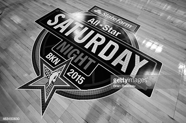 A shot of the All Star logo on the court prior to the Degree Shooting Stars on State Farm AllStar Saturday Night as part of the 2015 NBA AllStar...