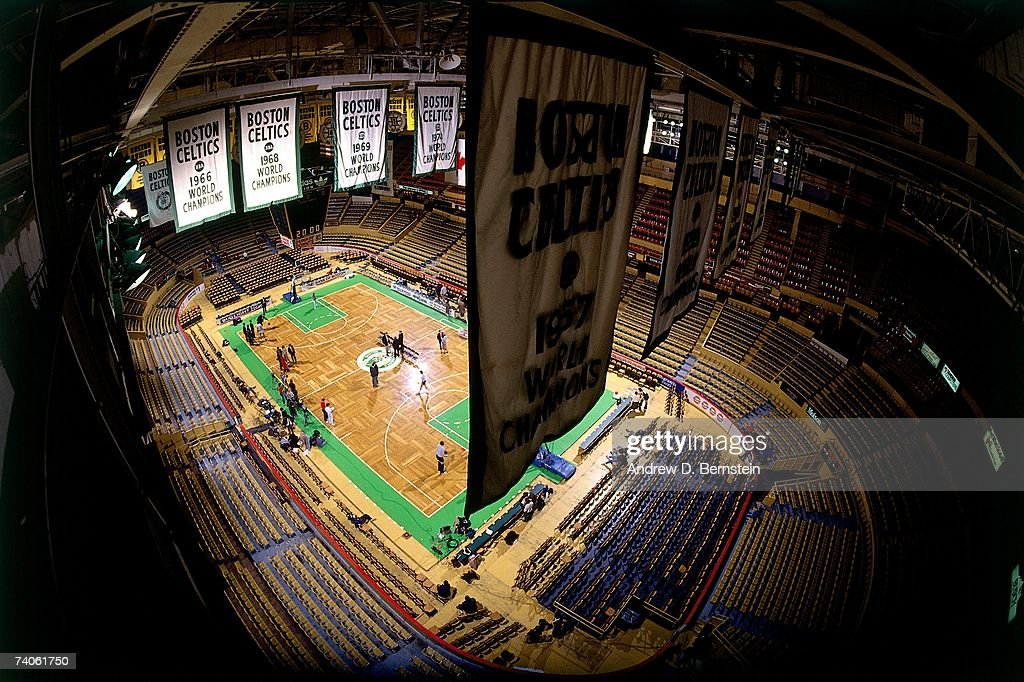 A shot of the Boston Garden and the championship banners from the rafters prior to a game played in 1990 in Boston Massachusetts NOTE TO USER User...