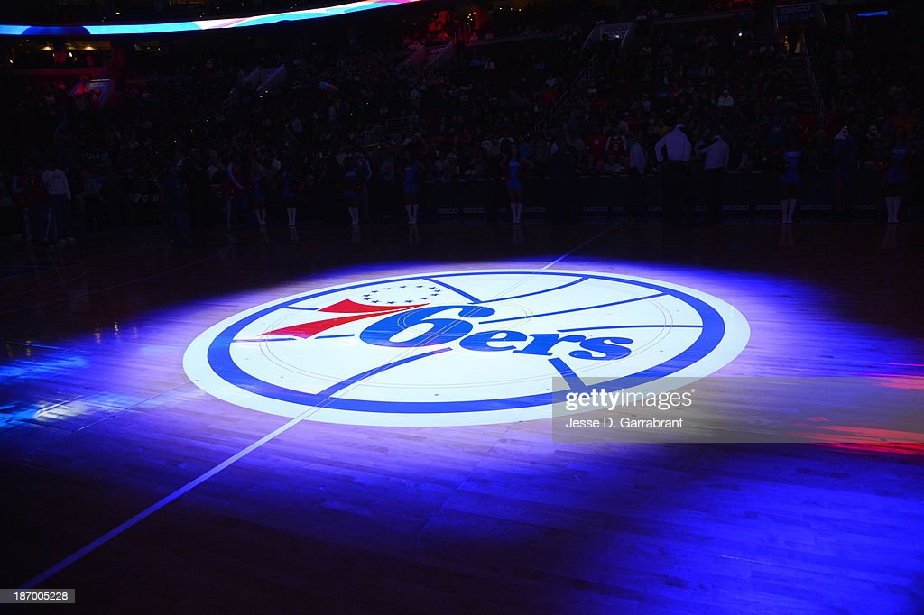 A shot of the court at the Wells Fargo Center during the Philadelphia 76ers game against the Golden State Warriors at the Wells Fargo Center on November 4, 2013 in Philadelphia, Pennsylvania.