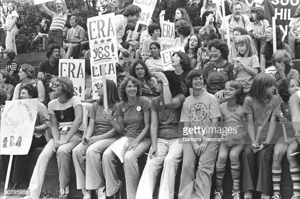 Shot of the crowd gathered together during an ERA rally Pittsburgh PA 1976