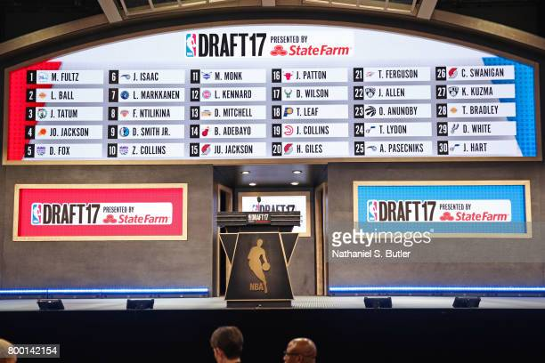 A shot of the first round draft board during the 2017 NBA Draft on June 22 2017 at Barclays Center in Brooklyn New York NOTE TO USER User expressly...