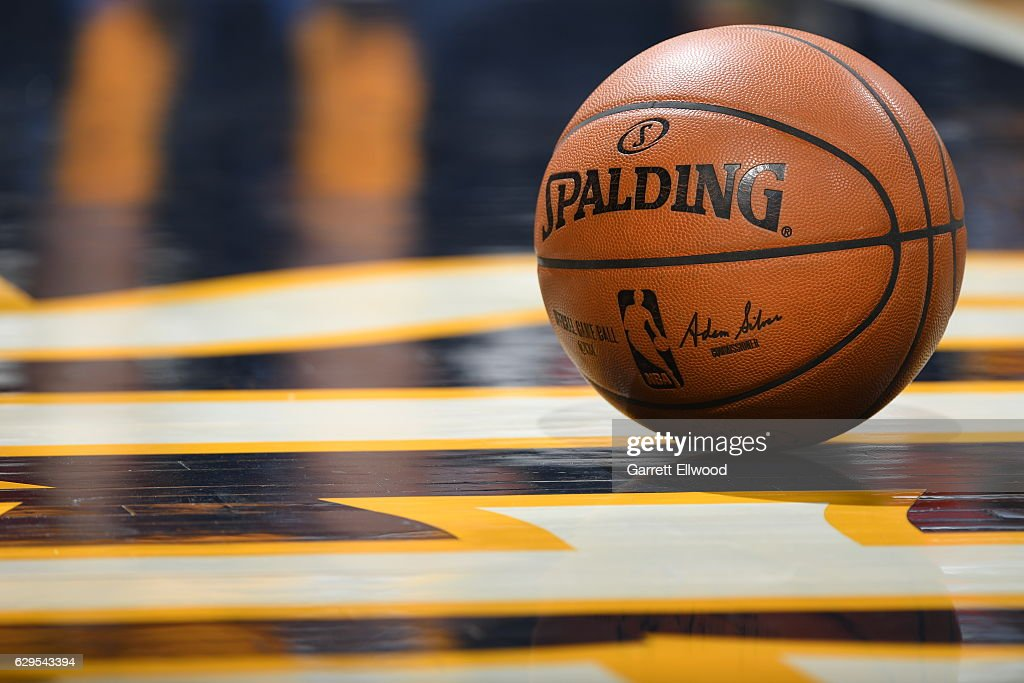A shot of the game ball during a game between the Toronto Raptors and the Denver Nuggets on November 18, 2016 at the Pepsi Center in Denver, Colorado.