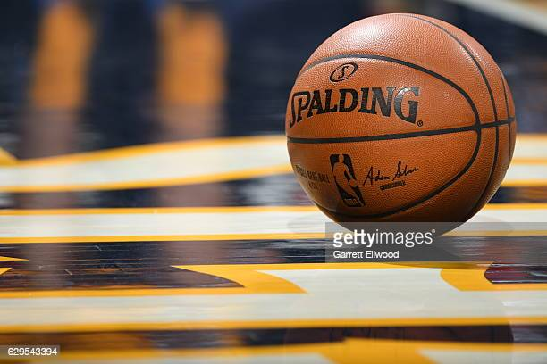 A shot of the game ball during a game between the Toronto Raptors and the Denver Nuggets on November 18 2016 at the Pepsi Center in Denver Colorado...