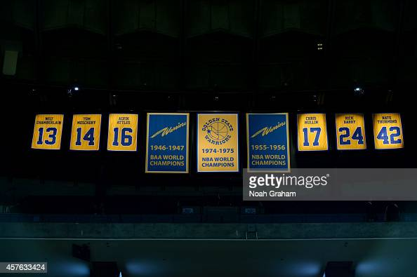 A shot of the Golden State Warriors banners hanging in the rafters prior to the game against the Los Angeles Clippers on October 21 2014 at Oracle...