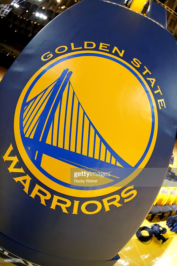 A shot of the Golden State Warriors logo during the game between the Los Angeles Clippers and Golden State Warriors in Game Six of the Western Conference Quarterfinals during the 2014 NBA Playoffs at Oracle Arena on May 1, 2014 in Oakland, California.