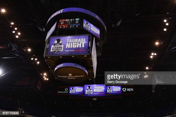 A shot of the jumbotron during guard Diana Taurasi of the Phoenix Mercury night before a WNBA game against the Minnesota Lynx on June 30 2017 at...