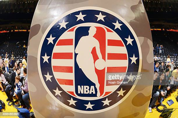 A shot of the NBA logo honoring Hoops for Troops prior to the game between the Los Angeles Clippers and Golden State Warriors on November 5 2014 at...
