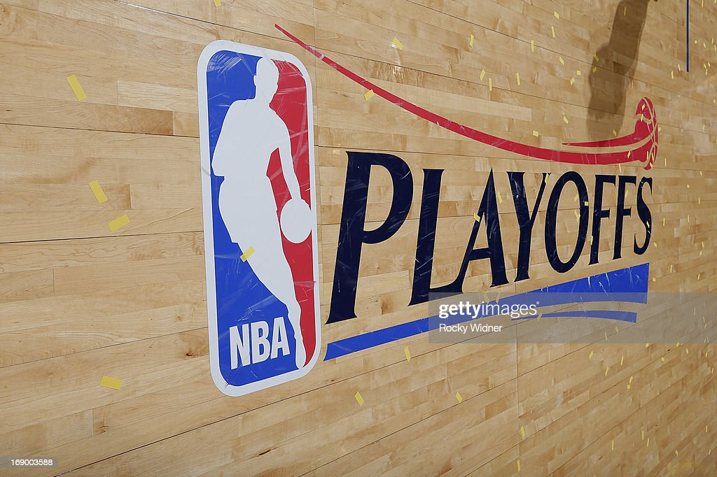 A shot of the NBA playoffs logo on the court of the game between the San Antonio Spurs and Golden State Warriors in Game Four of the Western Conference Semifinals during the 2013 NBA Playoffs on May 12, 2013 at Oracle Arena in Oakland, California.