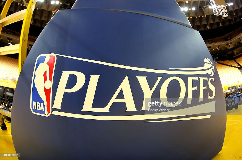 A shot of the NBA Playoffs trademark during the game between the Los Angeles Clippers and Golden State Warriors in Game Six of the Western Conference Quarterfinals during the 2014 NBA Playoffs at Oracle Arena on May 1, 2014 in Oakland, California.