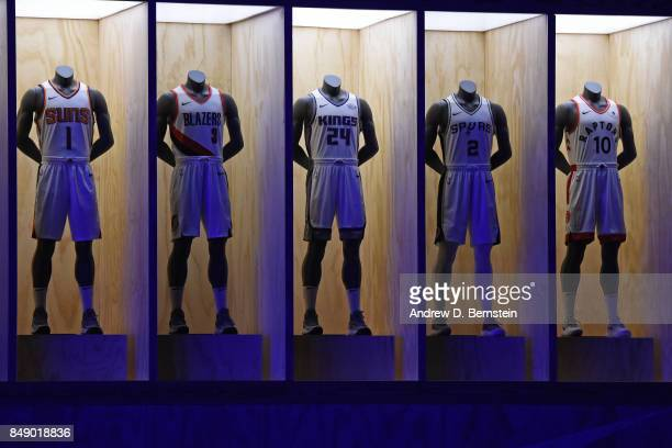 A shot of the Phoenix Suns Portland Trail Blazers Sacramento Kings San Antonio Spurs and Toronto Raptors new uniforms during the Nike Innovation...