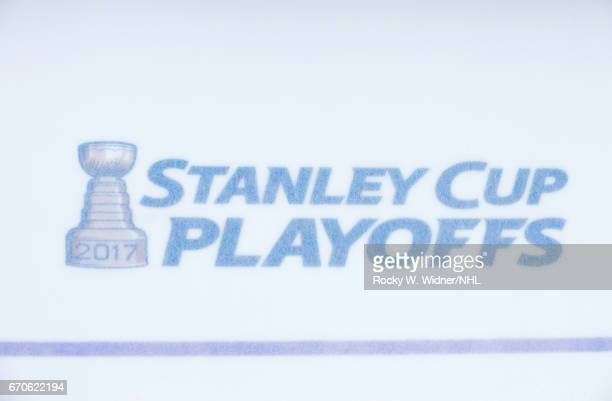 A shot of the playoffs logo prior to the game between the Edmonton Oilers and San Jose Sharks in Game Four of the Western Conference First Round...