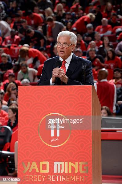 A shot of the podium for the Yao Ming jersey retirement ceremony during the Chicago Bulls game against the Houston Rockets on February 3 2017 at the...