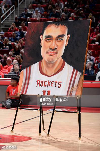 A shot of the poster for the Yao Ming jersey retirement ceremony during the Chicago Bulls game against the Houston Rockets on February 3 2017 at the...