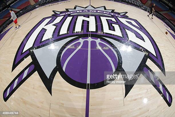 A shot of the Sacramento Kings logo center court prior to the game between the Portland Trail Blazers and Sacramento Kings on October 31 2014 at...