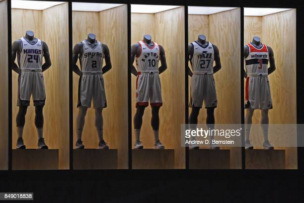 A shot of the Sacramento Kings San Antonio Spurs Toronto Raptors Utah Jazz and Washington Wizards new uniforms during the Nike Innovation Summit in...