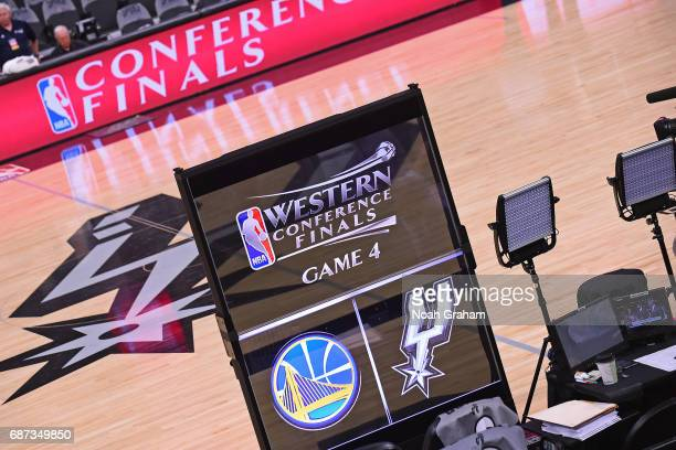 A shot of the singage before Game Four of the Western Conference Finals between the Golden State Warriors and the San Antonio Spurs during the 2017...