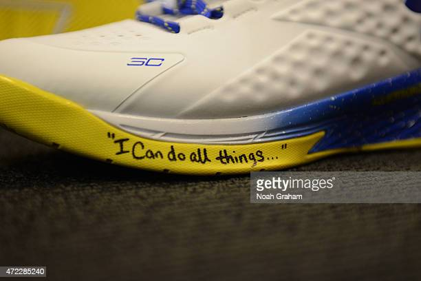 A shot of the Stephen Curry's basketball shoes the Curry One in Game Two of the Western Conference Semifinals during the NBA Playoffs on May 5 2015...