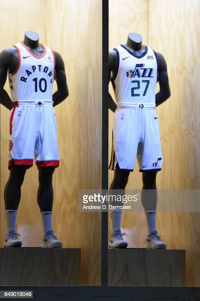 A shot of the Toronto Raptors and the Utah Jazz new uniforms during the Nike Innovation Summit in Los Angeles California on September 15 2017 NOTE TO...