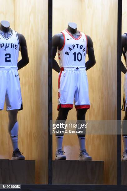 A shot of the Toronto Raptors new uniforms during the Nike Innovation Summit in Los Angeles California on September 15 2017 NOTE TO USER User...