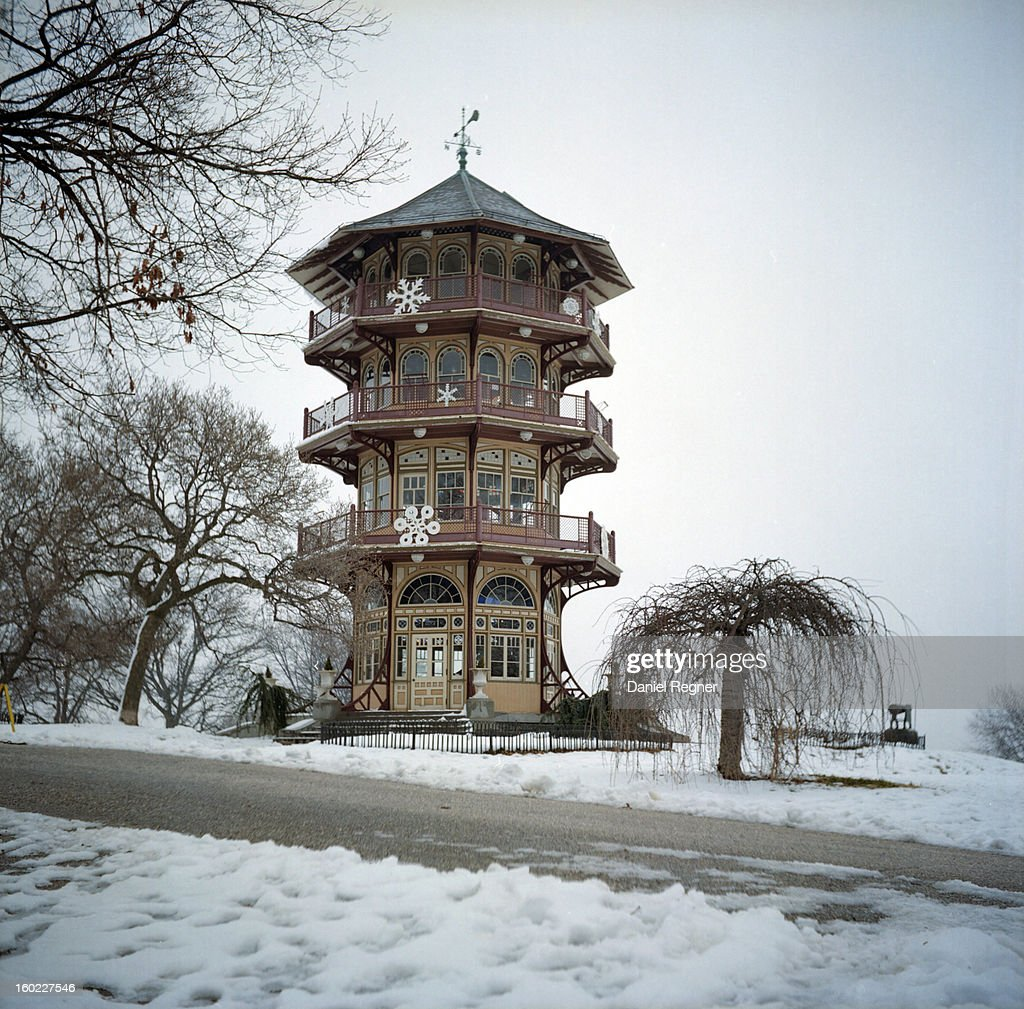 CONTENT] A shot of the traditional and famous pagoda in Patterson Park, in Baltimore, MD. Snow covered and cold, this is a nice shot of Baltimore in the winter.