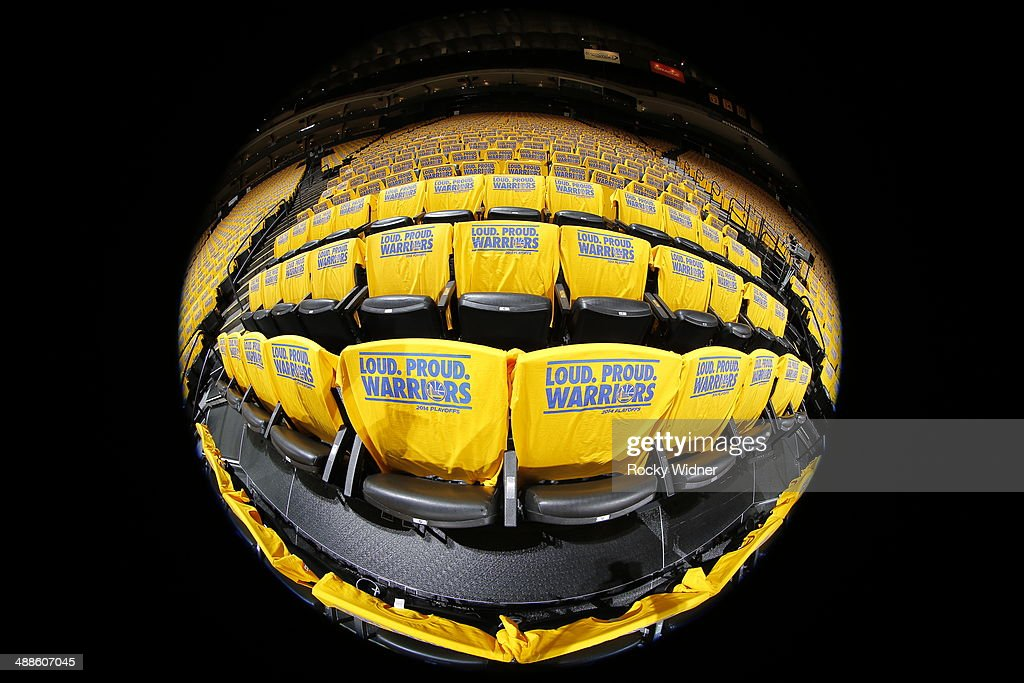 A shot of the tshirts covering the seats of Oracle Arena prior to the game between the Los Angeles Clippers and Golden State Warriors in Game Six of the Western Conference Quarterfinals during the 2014 NBA Playoffs at Oracle Arena on May 1, 2014 in Oakland, California.