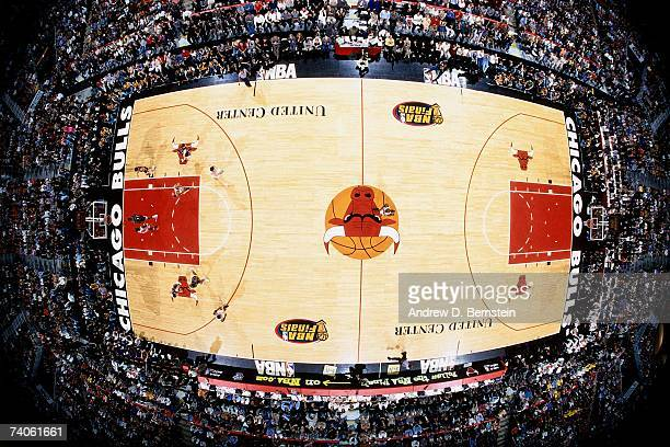 A shot of the United Center from above during Game Four of the NBA Finals between the Chicago Bulls and Utah Jazz on June 10 1998 in Chicago Illinois...